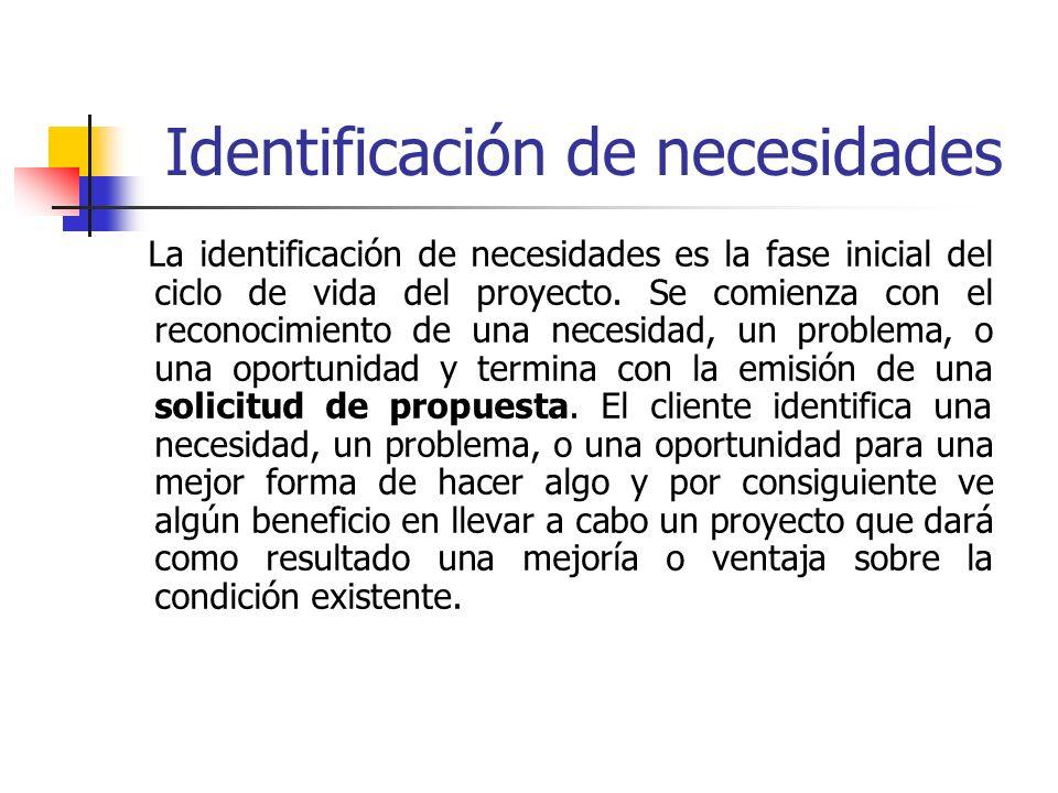 Identificación de necesidades La identificación de necesidades es la fase inicial del ciclo de vida del proyecto. Se comienza con el reconocimiento de
