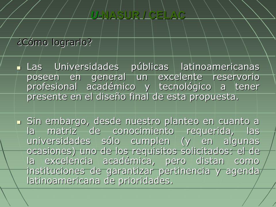 U-NASUR / CELAC ¿Cómo lograrlo? Las Universidades públicas latinoamericanas poseen en general un excelente reservorio profesional académico y tecnológ