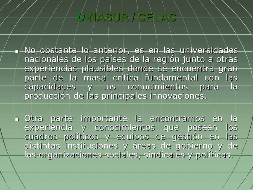 U-NASUR / CELAC No obstante lo anterior, es en las universidades nacionales de los países de la región junto a otras experiencias plausibles donde se