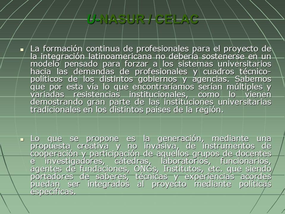 U-NASUR / CELAC La formación continua de profesionales para el proyecto de la integración latinoamericana no debería sostenerse en un modelo pensado p