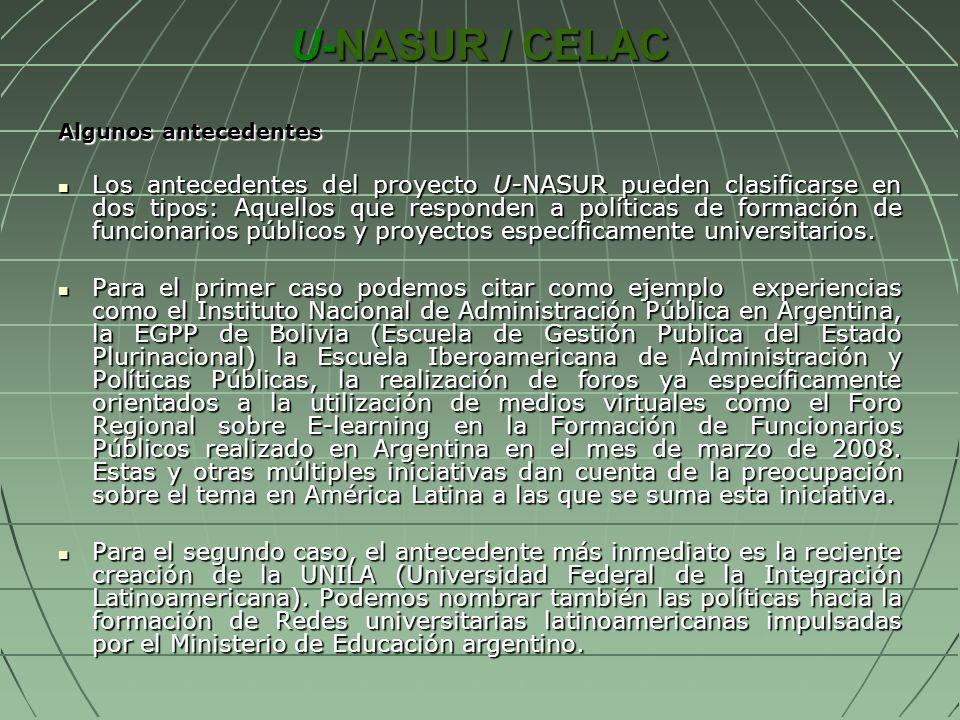 U-NASUR / CELAC Algunos antecedentes Los antecedentes del proyecto U-NASUR pueden clasificarse en dos tipos: Aquellos que responden a políticas de for