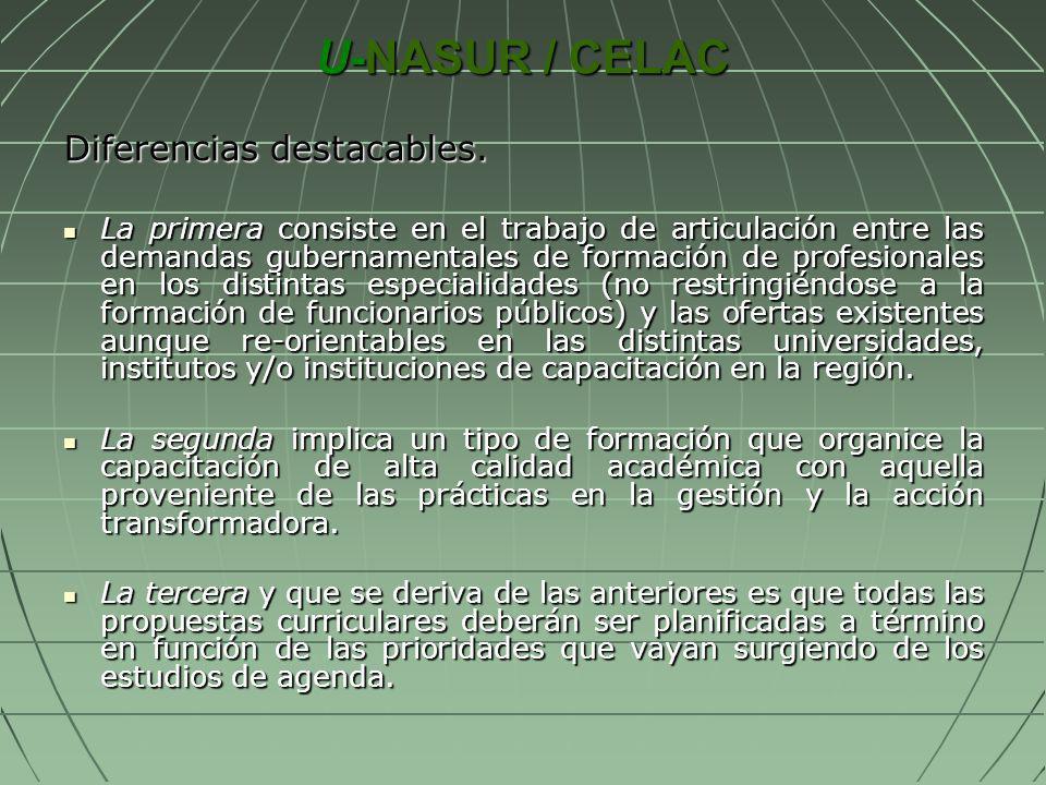 U-NASUR / CELAC Diferencias destacables. La primera consiste en el trabajo de articulación entre las demandas gubernamentales de formación de profesio