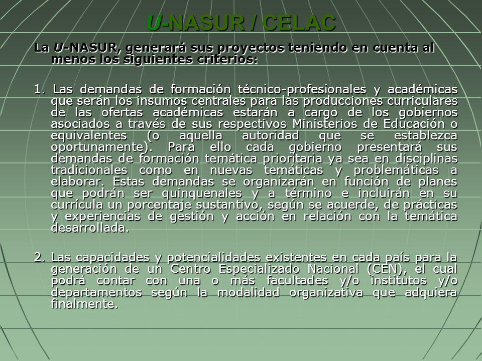 U-NASUR / CELAC La U-NASUR, generará sus proyectos teniendo en cuenta al menos los siguientes criterios: 1. Las demandas de formación técnico-profesio