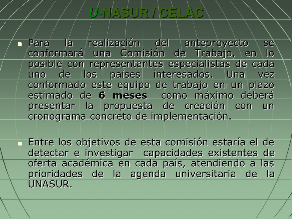 U-NASUR / CELAC Para la realización del anteproyecto se conformará una Comisión de Trabajo, en lo posible con representantes especialistas de cada uno