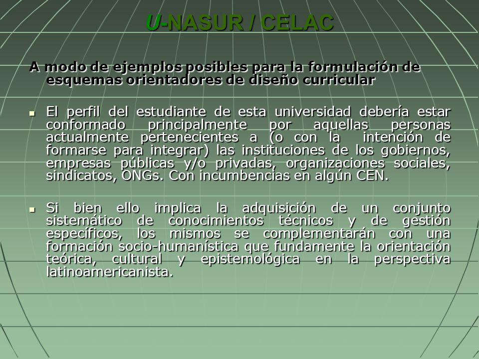 U-NASUR / CELAC A modo de ejemplos posibles para la formulación de esquemas orientadores de diseño curricular El perfil del estudiante de esta univers