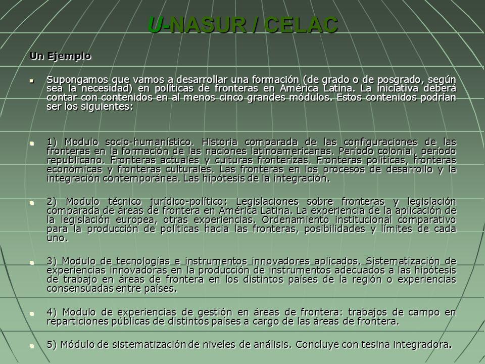 U-NASUR / CELAC Un Ejemplo Supongamos que vamos a desarrollar una formación (de grado o de posgrado, según sea la necesidad) en políticas de fronteras