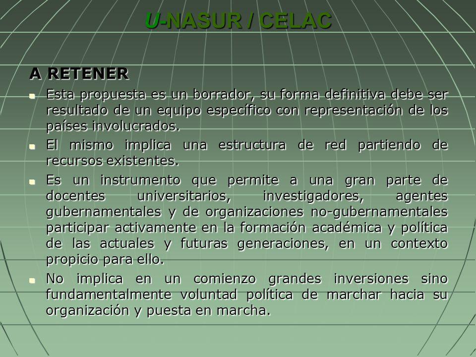 U-NASUR / CELAC A RETENER Esta propuesta es un borrador, su forma definitiva debe ser resultado de un equipo específico con representación de los país