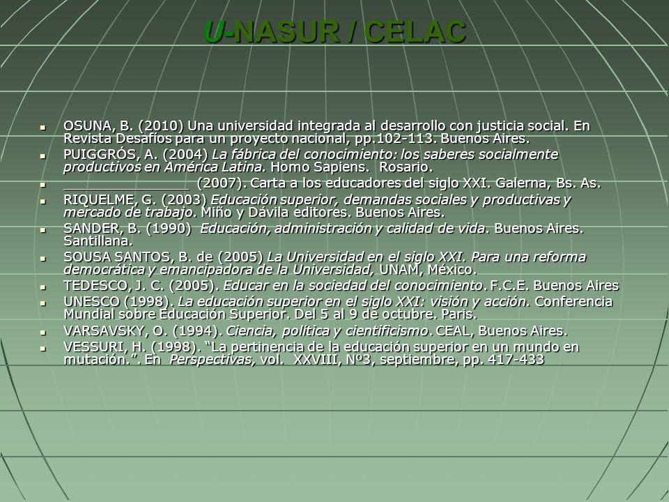 U-NASUR / CELAC OSUNA, B. (2010) Una universidad integrada al desarrollo con justicia social. En Revista Desafíos para un proyecto nacional, pp.102-11