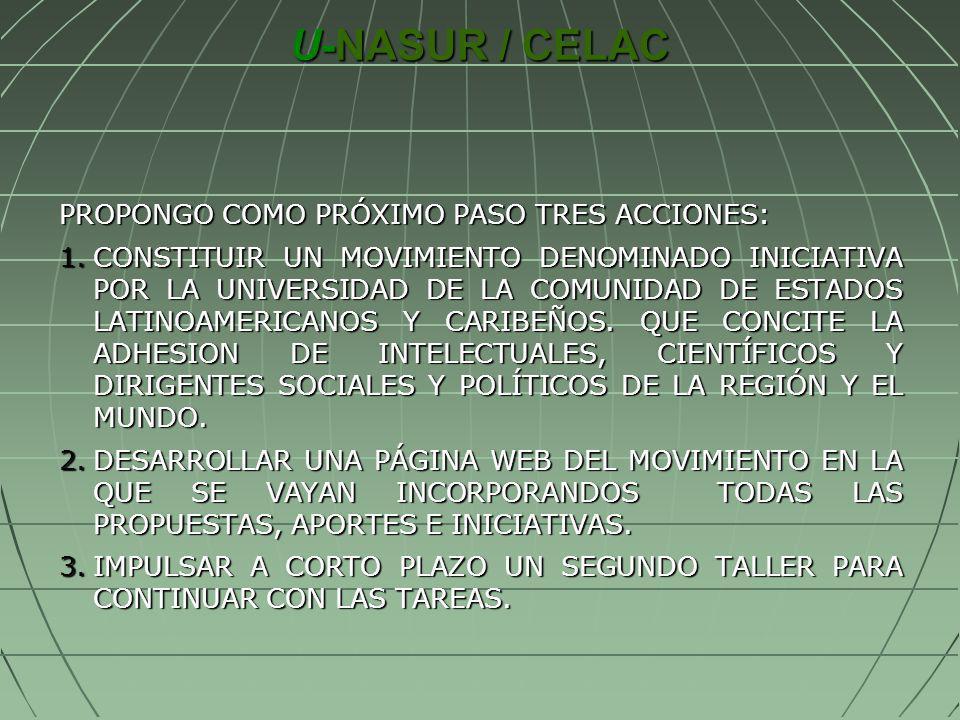 U-NASUR / CELAC PROPONGO COMO PRÓXIMO PASO TRES ACCIONES: 1.CONSTITUIR UN MOVIMIENTO DENOMINADO INICIATIVA POR LA UNIVERSIDAD DE LA COMUNIDAD DE ESTAD
