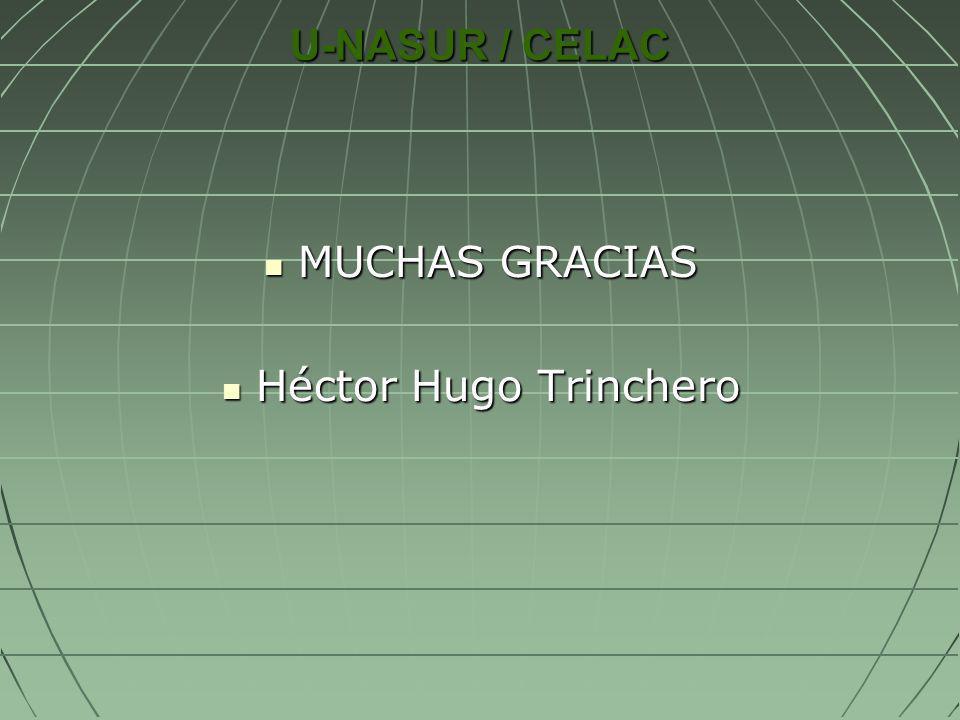 U-NASUR / CELAC MUCHAS GRACIAS MUCHAS GRACIAS Héctor Hugo Trinchero Héctor Hugo Trinchero