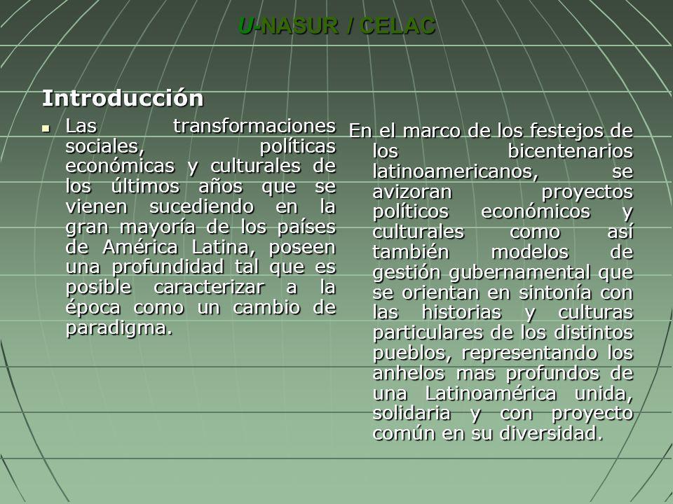 U-NASUR / CELAC Introducción Las transformaciones sociales, políticas económicas y culturales de los últimos años que se vienen sucediendo en la gran