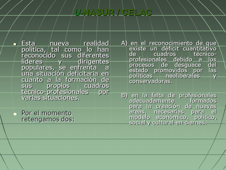 U-NASUR / CELAC U-NASUR / CELAC Esta nueva realidad política, tal como lo han reconocido sus diferentes líderes y dirigentes populares, se enfrenta a