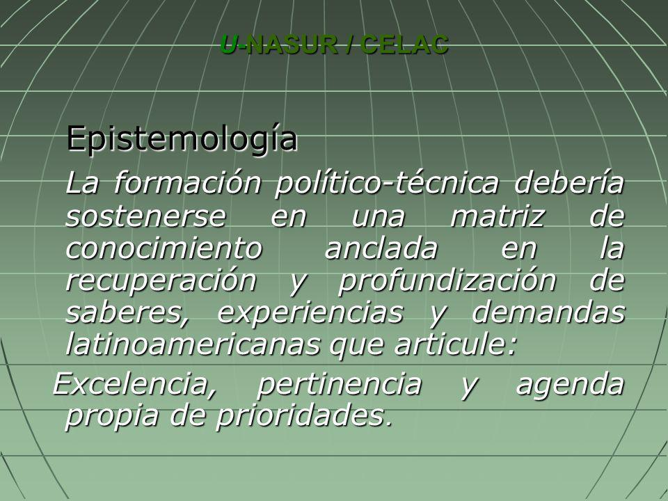 U-NASUR / CELAC U-NASUR / CELAC Epistemología Epistemología La formación político-técnica debería sostenerse en una matriz de conocimiento anclada en