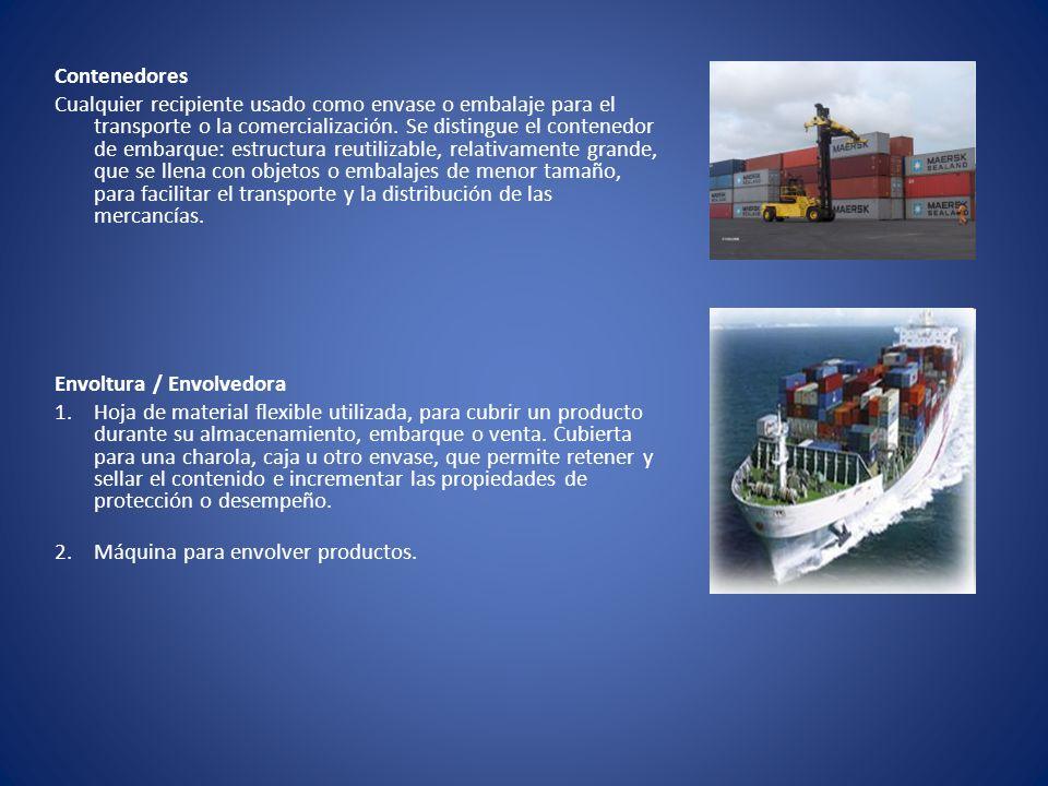 Contenedores Cualquier recipiente usado como envase o embalaje para el transporte o la comercialización. Se distingue el contenedor de embarque: estru