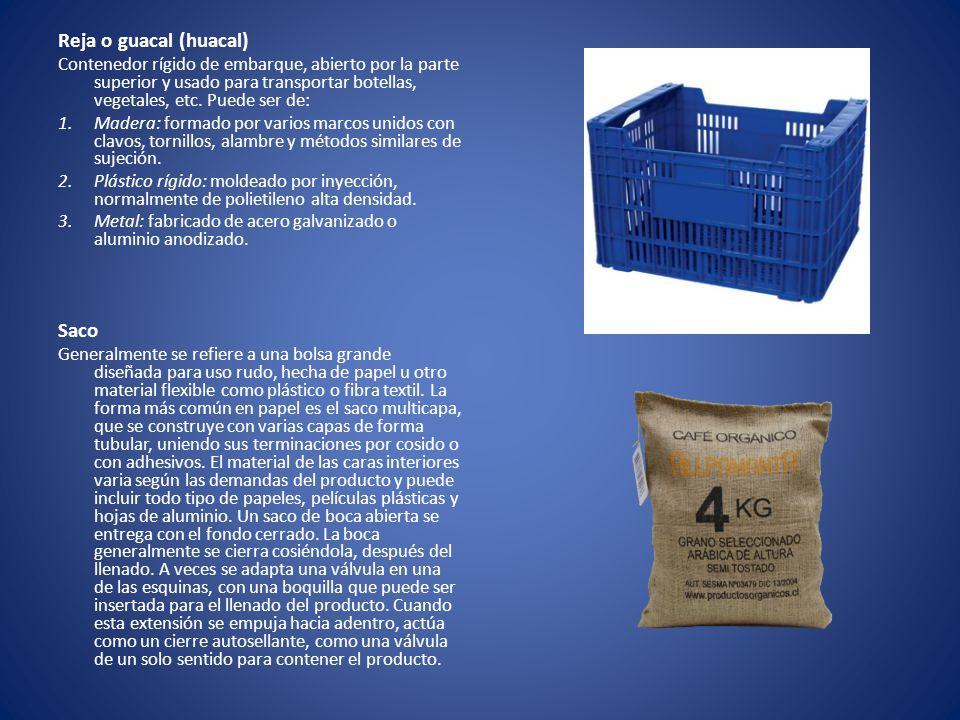 Reja o guacal (huacal) Contenedor rígido de embarque, abierto por la parte superior y usado para transportar botellas, vegetales, etc. Puede ser de: 1