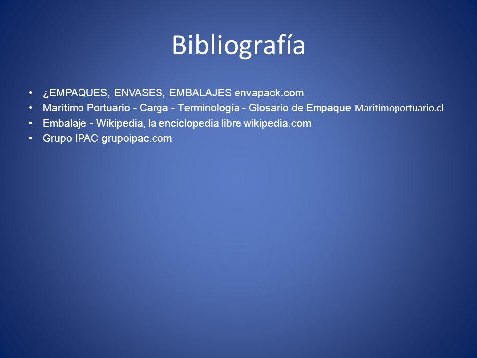 Bibliografía ¿EMPAQUES, ENVASES, EMBALAJES envapack.com Marítimo Portuario - Carga - Terminología - Glosario de Empaque Maritimoportuario.cl Embalaj
