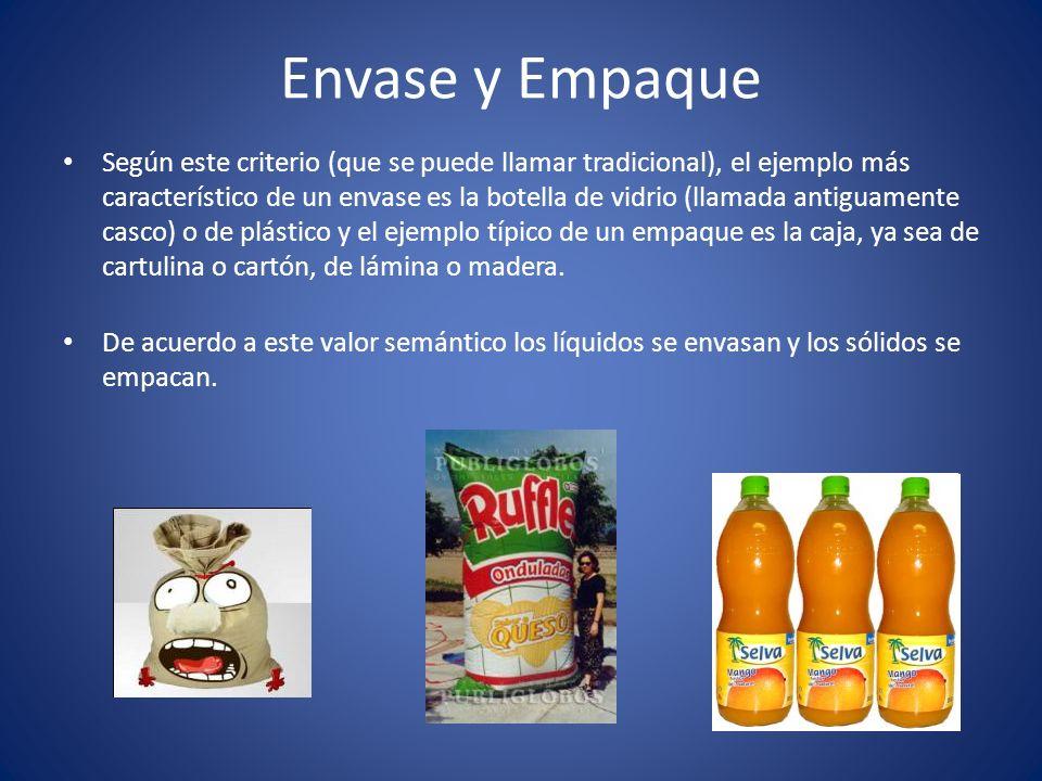 Envase y Empaque Según este criterio (que se puede llamar tradicional), el ejemplo más característico de un envase es la botella de vidrio (llamada an