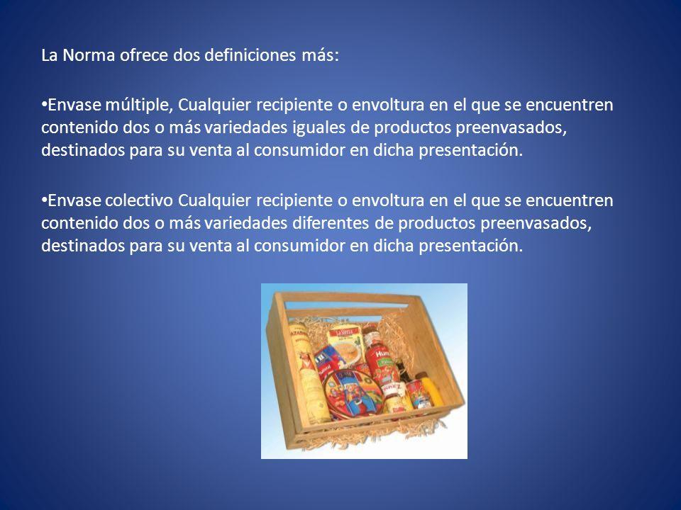 La Norma ofrece dos definiciones más: Envase múltiple, Cualquier recipiente o envoltura en el que se encuentren contenido dos o más variedades iguales