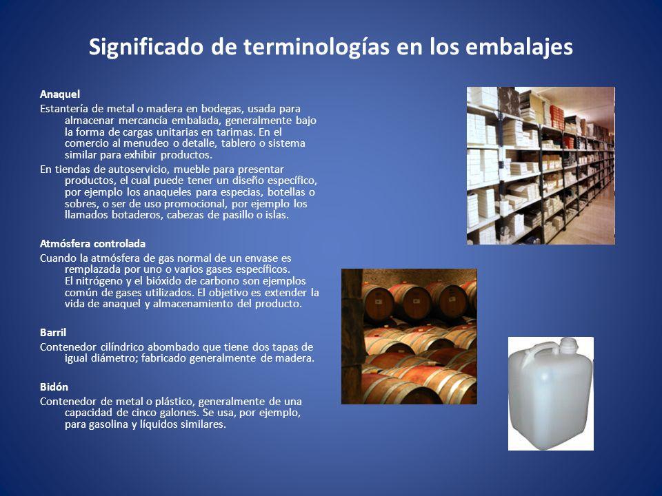 Significado de terminologías en los embalajes Anaquel Estantería de metal o madera en bodegas, usada para almacenar mercancía embalada, generalmente b