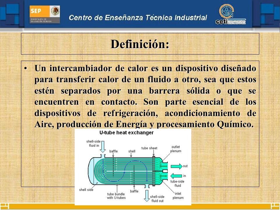 Definición: Un intercambiador de calor es un dispositivo diseñado para transferir calor de un fluido a otro, sea que estos estén separados por una barrera sólida o que se encuentren en contacto.