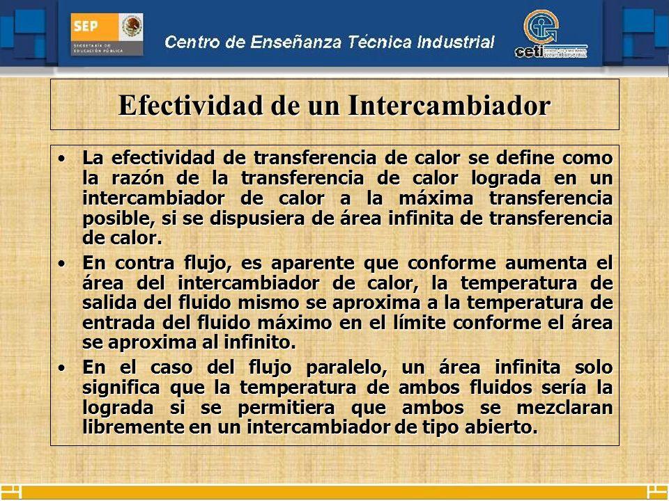 Efectividad de un Intercambiador La efectividad de transferencia de calor se define como la razón de la transferencia de calor lograda en un intercambiador de calor a la máxima transferencia posible, si se dispusiera de área infinita de transferencia de calor.La efectividad de transferencia de calor se define como la razón de la transferencia de calor lograda en un intercambiador de calor a la máxima transferencia posible, si se dispusiera de área infinita de transferencia de calor.