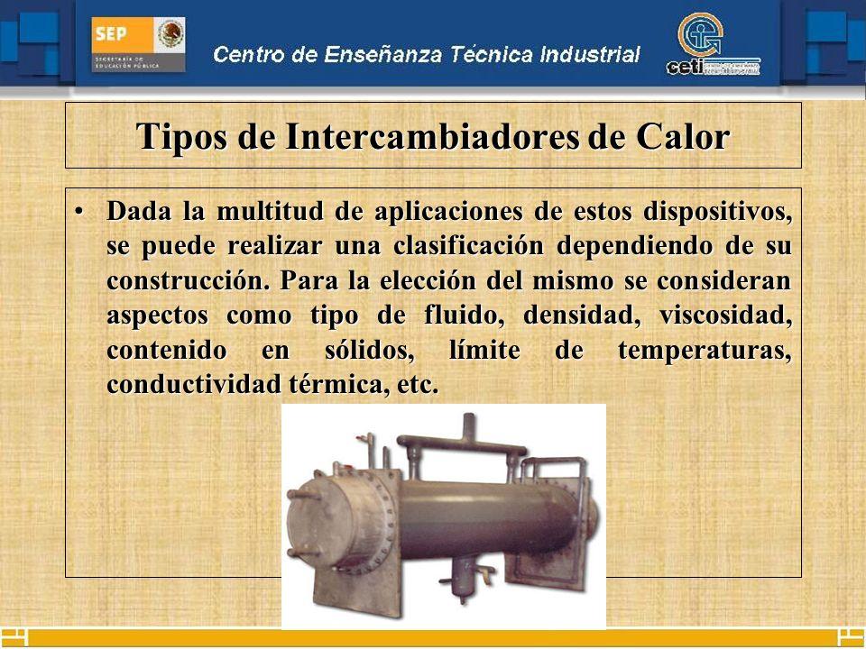 Tipos de Intercambiadores de Calor Dada la multitud de aplicaciones de estos dispositivos, se puede realizar una clasificación dependiendo de su construcción.