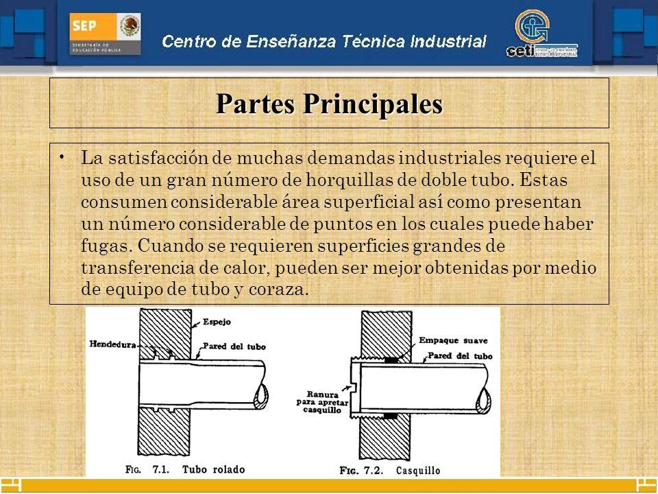 Partes Principales La satisfacción de muchas demandas industriales requiere el uso de un gran número de horquillas de doble tubo.
