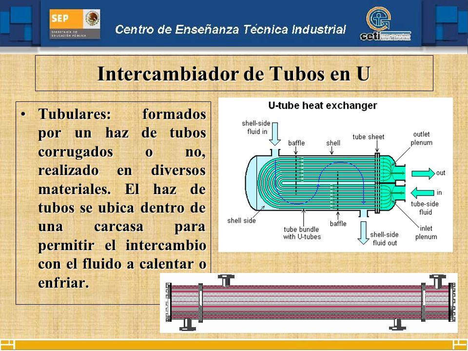 Intercambiador de Tubos en U Tubulares: formados por un haz de tubos corrugados o no, realizado en diversos materiales.