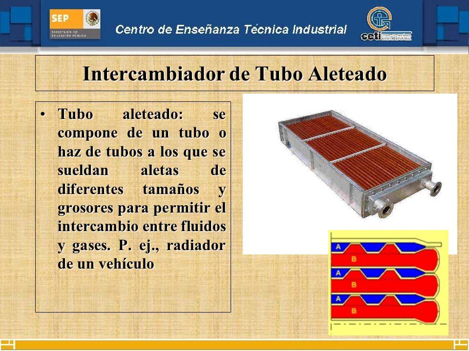 Intercambiador de Tubo Aleteado Tubo aleteado: se compone de un tubo o haz de tubos a los que se sueldan aletas de diferentes tamaños y grosores para permitir el intercambio entre fluidos y gases.