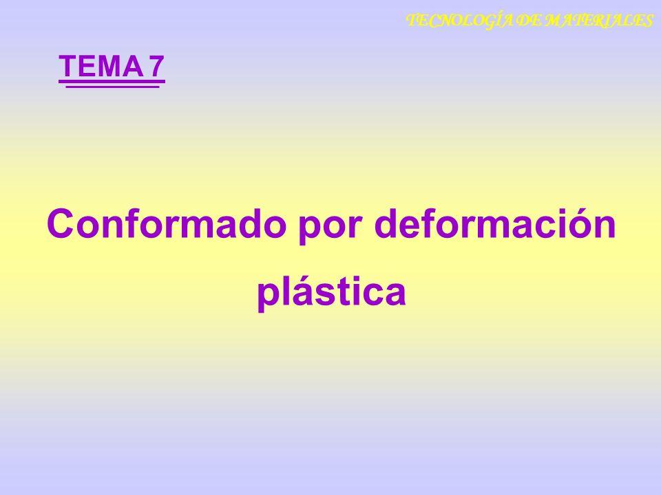 Conformado por deformación plástica TEMA 7 TECNOLOGÍA DE MATERIALES