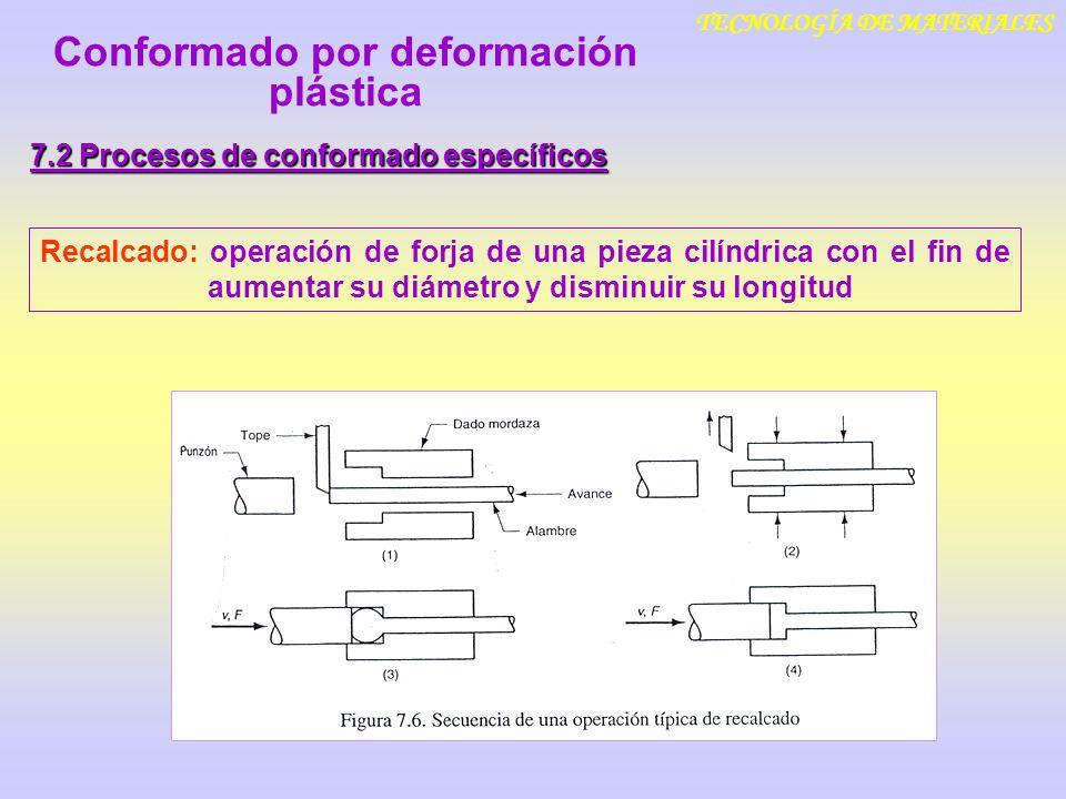 TECNOLOGÍA DE MATERIALES 7.2 Procesos de conformado específicos Recalcado: operación de forja de una pieza cilíndrica con el fin de aumentar su diámet