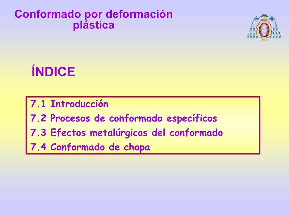 7.1 Introducción 7.2 Procesos de conformado específicos 7.3 Efectos metalúrgicos del conformado 7.4 Conformado de chapa ÍNDICE Conformado por deformac