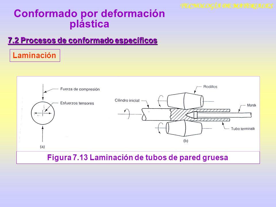 TECNOLOGÍA DE MATERIALES 7.2 Procesos de conformado específicos Laminación Figura 7.13 Laminación de tubos de pared gruesa Conformado por deformación