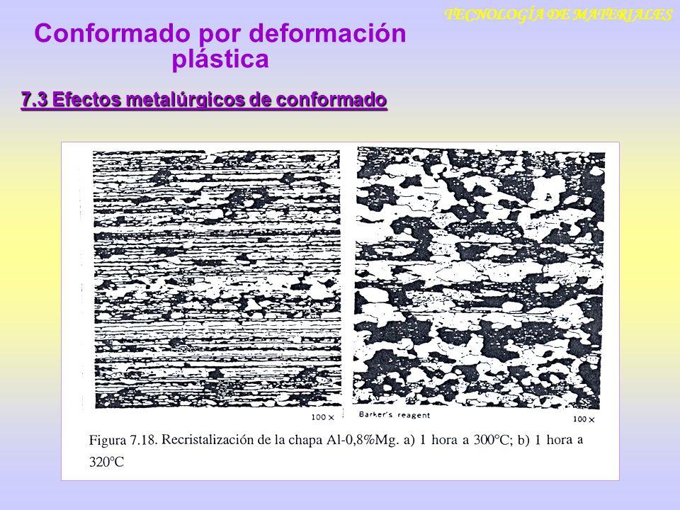 TECNOLOGÍA DE MATERIALES 7.3 Efectos metalúrgicos de conformado Conformado por deformación plástica