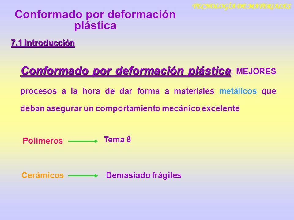 TECNOLOGÍA DE MATERIALES 7.1 Introducción Conformado por deformación plástica Conformado por deformación plástica : MEJORES procesos a la hora de dar