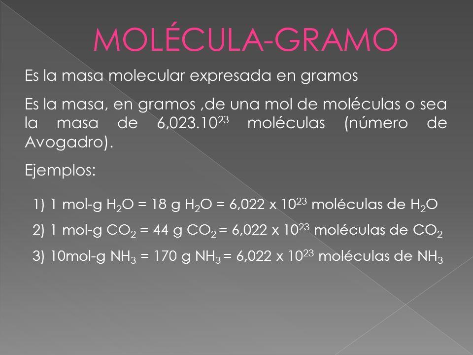 MOLÉCULA-GRAMO Es la masa molecular expresada en gramos Es la masa, en gramos,de una mol de moléculas o sea la masa de 6,023.10 23 moléculas (número d