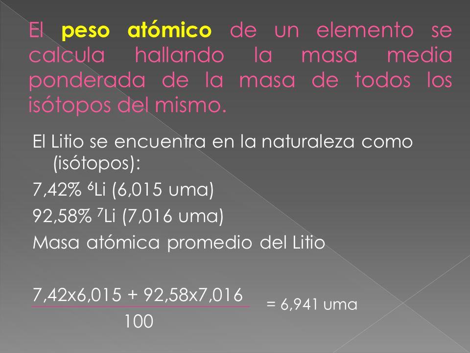 El Litio se encuentra en la naturaleza como (isótopos): 7,42% 6 Li (6,015 uma) 92,58% 7 Li (7,016 uma) Masa atómica promedio del Litio 7,42x6,015 + 92