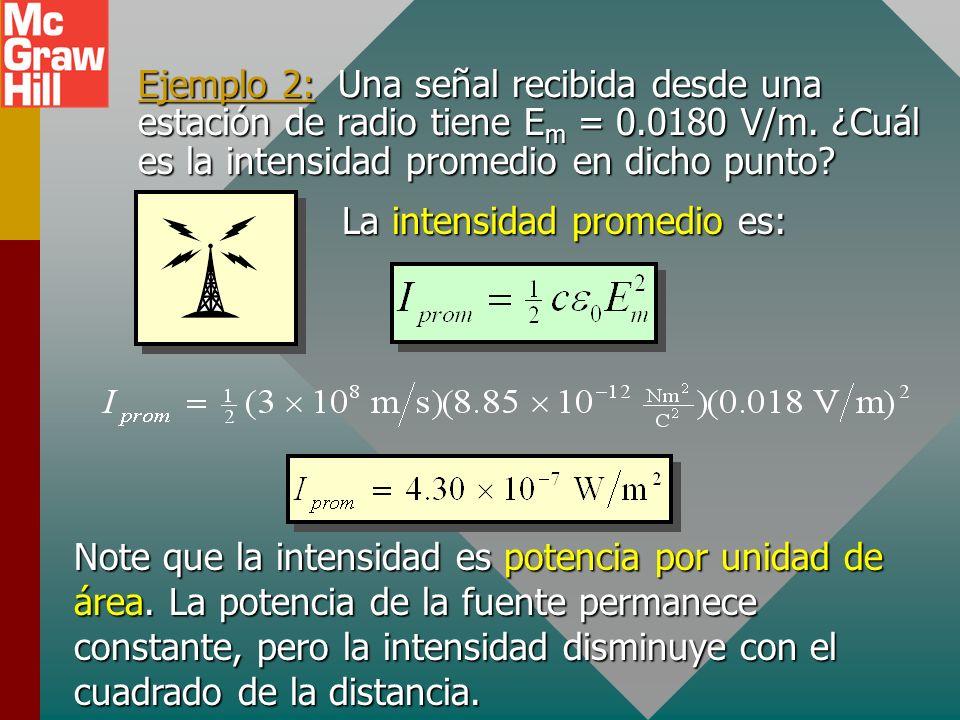 Cálculo de intensidad de onda Al calcular intensidad, debe distinguir entre valores promedio y valores totales: Como E = cB, I también se puede expres