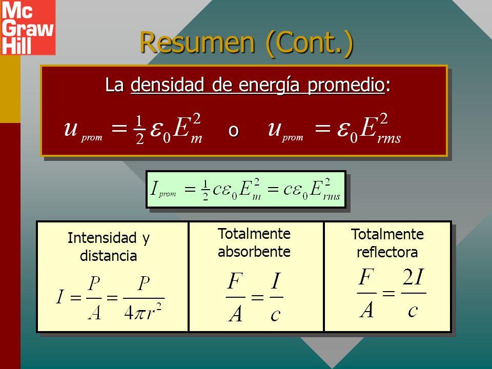 Resumen (Cont.) Las ondas EM viajan a la rapidez de la luz, que es: c = 3.00 x 10 8 m/s Densidad de energía total: y