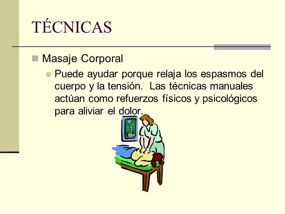 Masaje Corporal Puede ayudar porque relaja los espasmos del cuerpo y la tensión. Las técnicas manuales actúan como refuerzos físicos y psicológicos pa