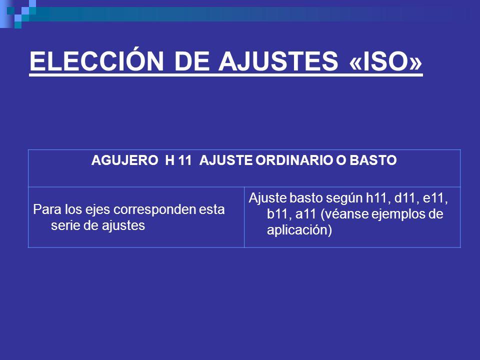 ELECCIÓN DE AJUSTES «ISO» AGUJERO H 11 AJUSTE ORDINARIO O BASTO Para los ejes corresponden esta serie de ajustes Ajuste basto según h11, d11, e11, b1