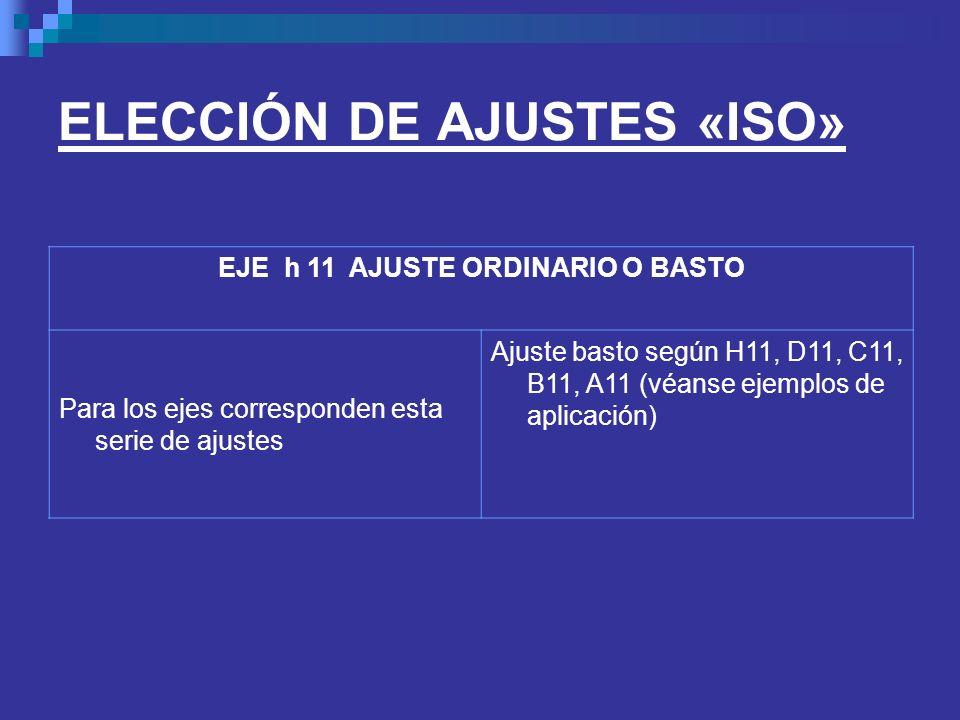 ELECCIÓN DE AJUSTES «ISO» EJE h 11 AJUSTE ORDINARIO O BASTO Para los ejes corresponden esta serie de ajustes Ajuste basto según H11, D11, C11, B11, A1