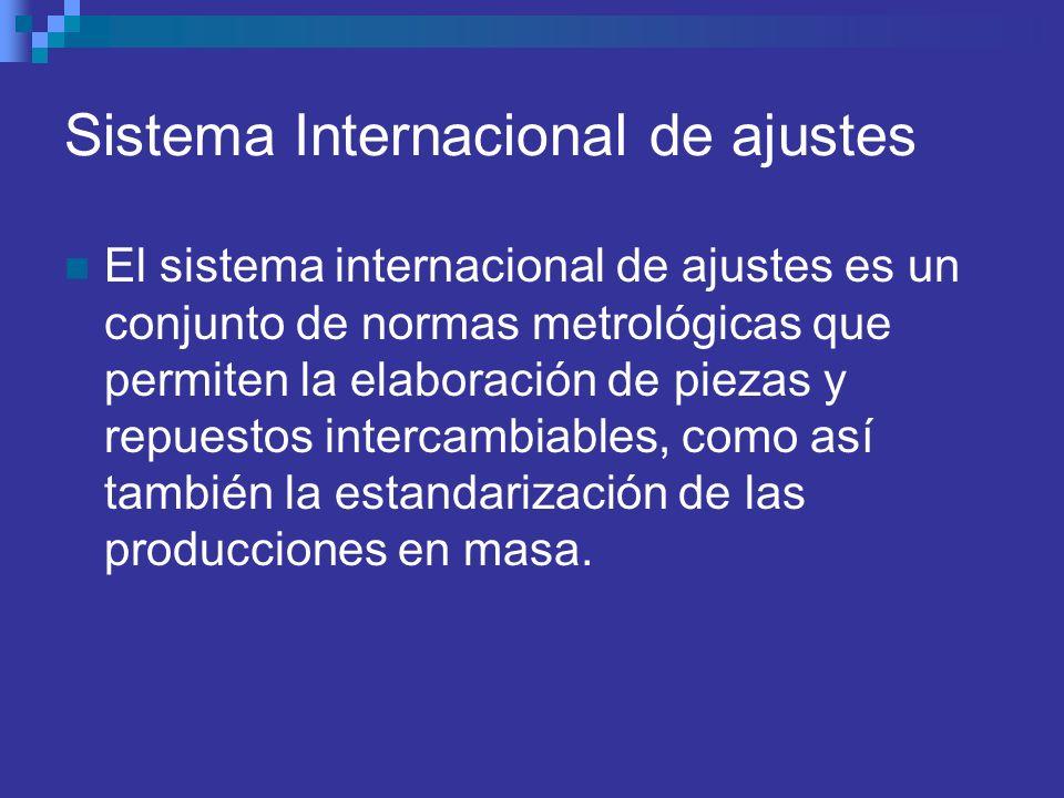 Sistema Internacional de ajustes El sistema internacional de ajustes es un conjunto de normas metrológicas que permiten la elaboración de piezas y rep