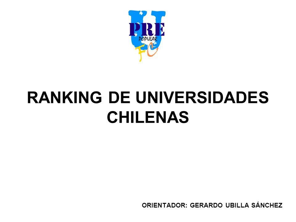RANKING DE UNIVERSIDADES CHILENAS ORIENTADOR: GERARDO UBILLA SÁNCHEZ
