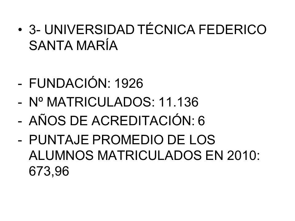 3- UNIVERSIDAD TÉCNICA FEDERICO SANTA MARÍA -FUNDACIÓN: 1926 -Nº MATRICULADOS: 11.136 -AÑOS DE ACREDITACIÓN: 6 -PUNTAJE PROMEDIO DE LOS ALUMNOS MATRIC