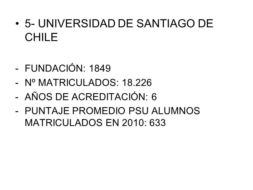 5- UNIVERSIDAD DE SANTIAGO DE CHILE -FUNDACIÓN: 1849 -Nº MATRICULADOS: 18.226 -AÑOS DE ACREDITACIÓN: 6 -PUNTAJE PROMEDIO PSU ALUMNOS MATRICULADOS EN 2