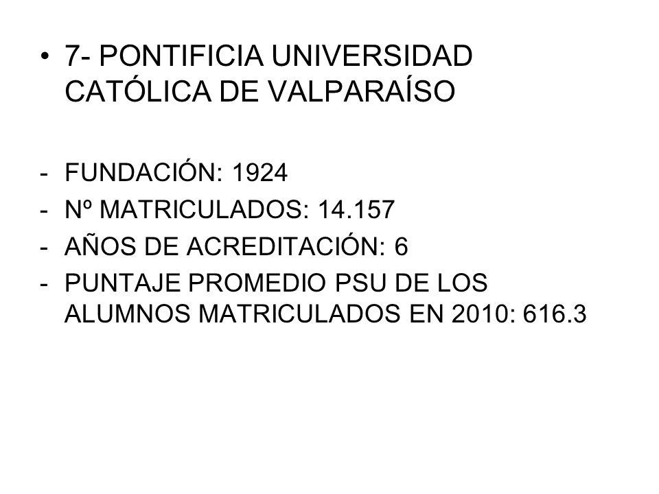 7- PONTIFICIA UNIVERSIDAD CATÓLICA DE VALPARAÍSO -FUNDACIÓN: 1924 -Nº MATRICULADOS: 14.157 -AÑOS DE ACREDITACIÓN: 6 -PUNTAJE PROMEDIO PSU DE LOS ALUMN
