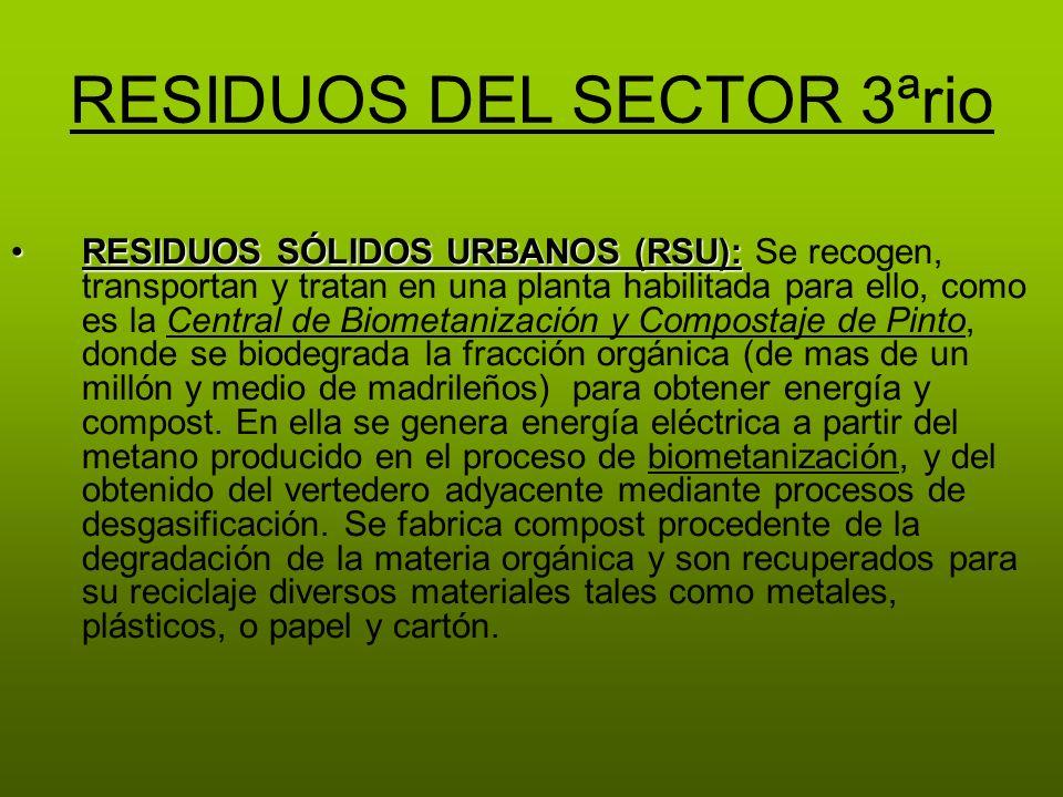 RESIDUOS DEL SECTOR 3ªrio RESIDUOS SÓLIDOS URBANOS (RSU):RESIDUOS SÓLIDOS URBANOS (RSU): Se recogen, transportan y tratan en una planta habilitada par