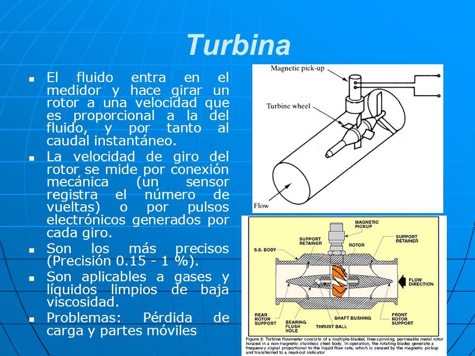 Turbina El fluido entra en el medidor y hace girar un rotor a una velocidad que es proporcional a la del fluido, y por tanto al caudal instantáneo. La