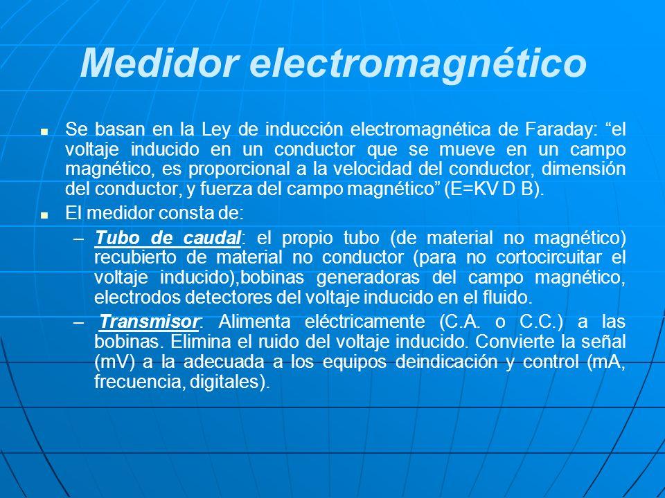 Medidor electromagnético Se basan en la Ley de inducción electromagnética de Faraday: el voltaje inducido en un conductor que se mueve en un campo mag